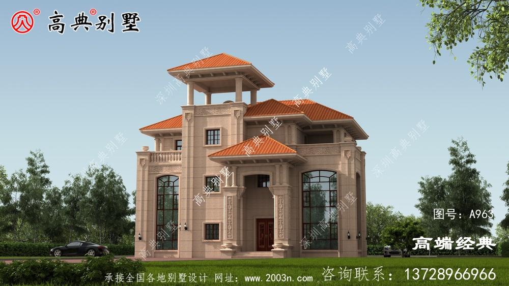 带凉亭的三层乡村别墅设计