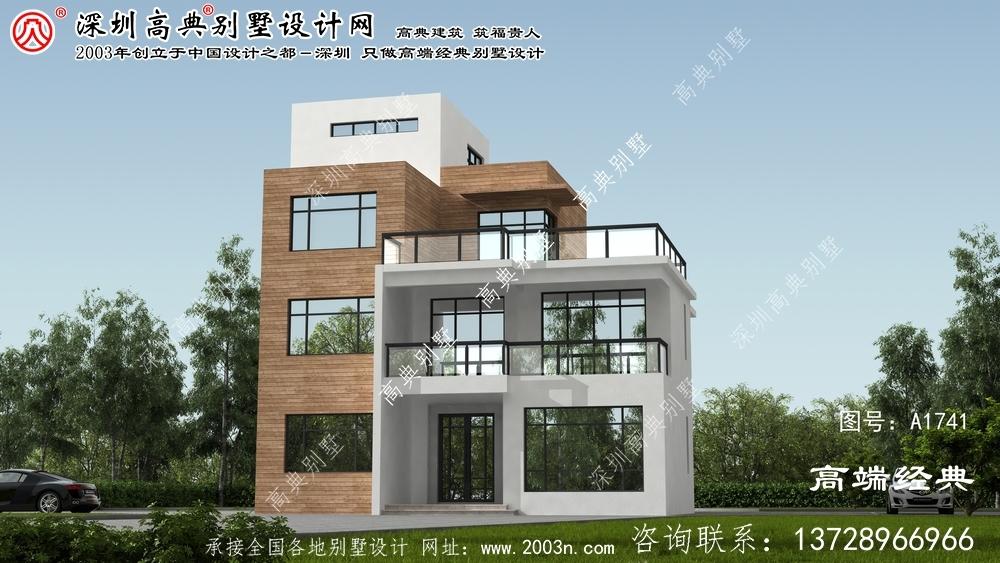 泾源县清新简约的三层现代别墅设计图。