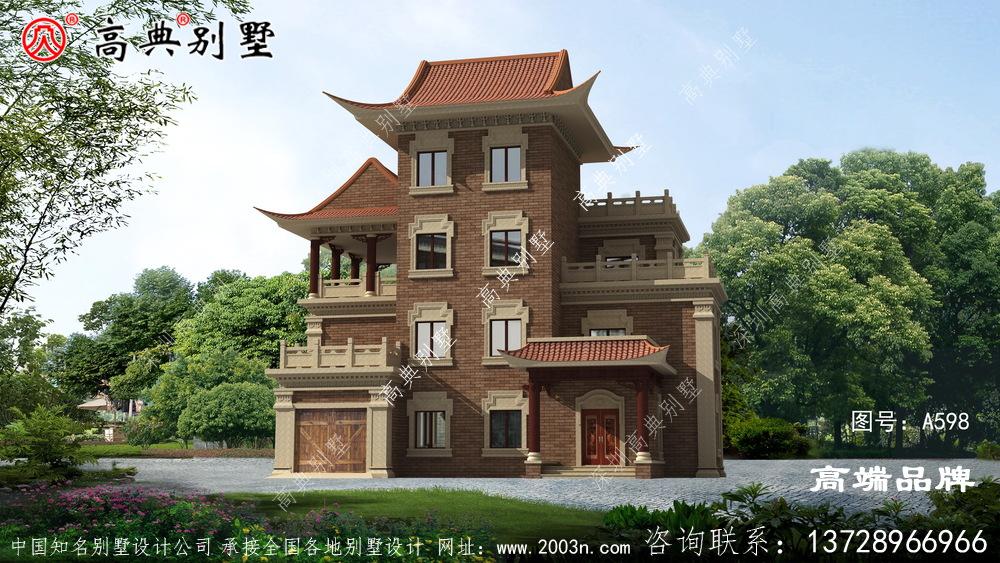 农村普通住宅设计图暖色小面砖立面精致温馨