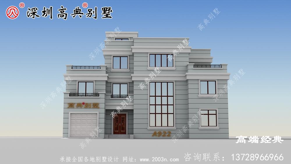 适合老家建的四层现代别墅,配色清新雅致