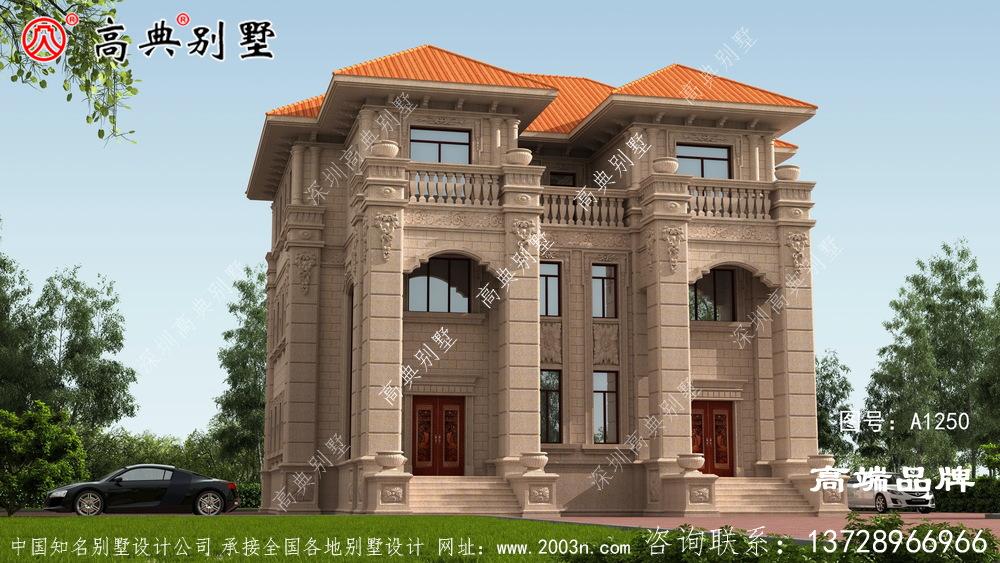外墙采用统一棕色装饰,整体设计风格清新高雅